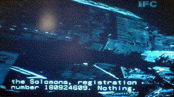 Television image with IFC logotype shows a spacecraft and two-line caption reading the Solomons, registration number 180924609. Nothing.