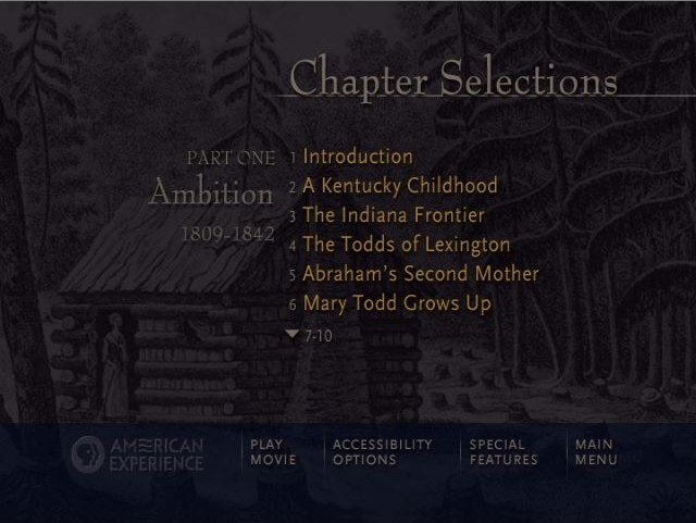 'Lincolns' screenshot, with chapter selections and global menu
