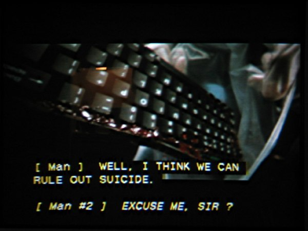 'Gattaca,' correctly: [ Man ]:  WELL, I THINK WE CAN RULE OUT SUICIDE. ¶ [ Man #2 ]  EXCLUSE ME, SIR?
