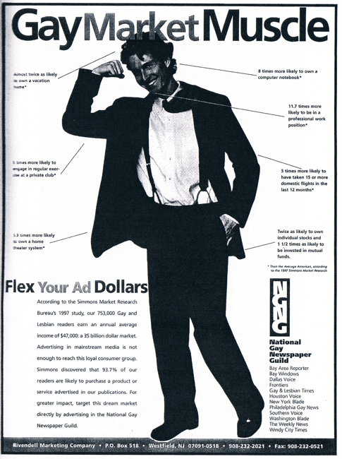 1989: Overlooked Opinions, a now-defunct gay-marketing firm in the U.S., ...